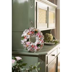 HomeLiving Dekokranz Holzblüten beige