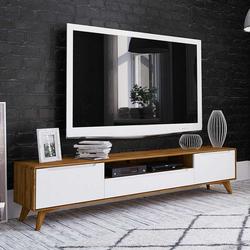 Fernsehkommode in Weiß und Wildeiche 220 cm breit
