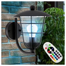 etc-shop LED Laterne, Außenlampe Laterne Wandlampe Outdoor Wandleuchte Garten Wandlaterne, Farbwechsel Fernbedienung dimmbar, RGB LED E27, LxH 22x28 cm