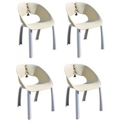 Leco 4x TRENDA Stapelsessel stylisch Sessel mit Schnüren grau / natur