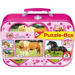 Schmidt Spiele Puzzle Pferde im Metallkoffer 2 x 26 Teile, 2 x 48 Teile 55588