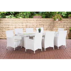 CLP Gartenmöbelset Avignon BIG, 8 Gartenstühlen mit Sitzkissen weiß