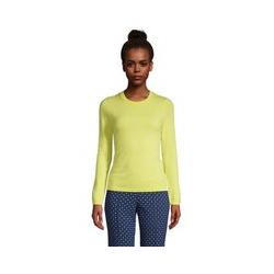 Kaschmir-Pullover mit rundem Ausschnitt, Damen, Größe: L Normal, Gelb, by Lands' End, Gelb Zitrone - L - Gelb Zitrone