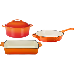 GSW Topf-Set Orange Shadow, Gusseisen, (Set, 4 tlg.), Induktion orange Topfsets Töpfe Haushaltswaren