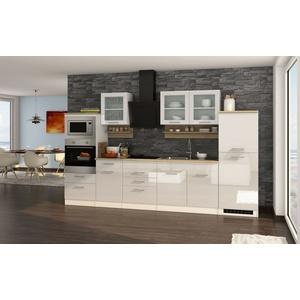 Küchenzeile hochglanz weiss Küchenblock Einbauküche mit Elektrogeräten 330 cm