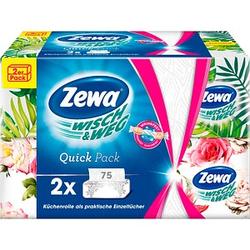 Zewa Küchenpapier Einzeltücher WISCH&WEG Quick Pack 2-lagig 2x 75 Tücher