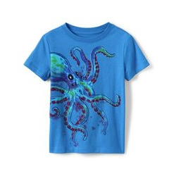 Grafik-Shirt, Größe: 128-134, Sonstige, Jersey, by Lands' End, Oktopus - 128-134 - Oktopus