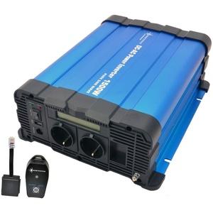 solartronics Spannungswandler FS1500D 12V 1500/3000 Watt Reiner Sinus BLAU m. Display mit Fernbedienung Funk