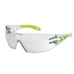 uvex pheos s Schutzbrille, kratzfest, beschlagfrei, Moderne Arbeitsschutzbrille im Fashion-Look, Farbe: weiß / lime