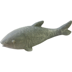 locker Dekofigur Fisch grau Gartenfiguren Gartendekoration Gartenmöbel Gartendeko