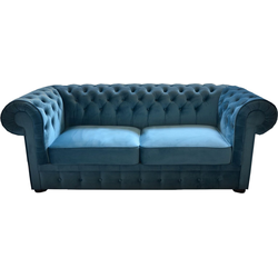 Casa Padrino Chesterfield 2er Sofa in Blau 160 x 90 x H. 78 cm - Luxus Chesterfield Sofa