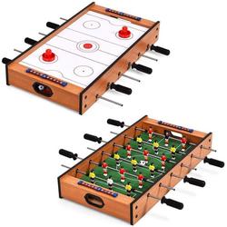 COSTWAY Mini-Tischkicker Multifunktionsspieltisch, 2 in 1, aus Holz