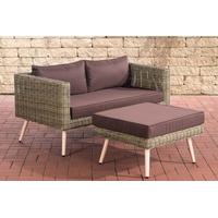 Clp 2er Sofa MOLDE mit Fußhocker I Natura I Loungeset Rundrattan I Gartensofa mit Hocker I 5mm Natura-45 cm (Hellbraun)-Terrabraun