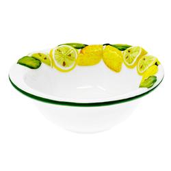 Lashuma Salatschüssel Zitrone, Keramik, italienische Servierschale rund, Obstschüssel handgemacht Ø 17 cm x 6.5 cm