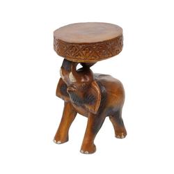 Oriental Galerie Blumenhocker Rundhocker Elefant 25 cm, Handarbeit