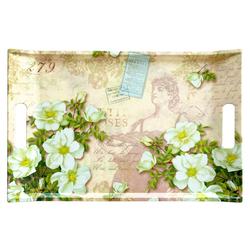 Lashuma Tablett Gardenien, Melamin, Küchentablett mit Griffen, Geschirrtablett bedruckt grün 47 cm x 31 cm x 3 cm
