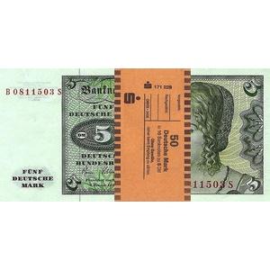 *** 10 x 5 DM, Deutsche Mark, Geldscheine 1980, mit Banderole - Reproduktion ***