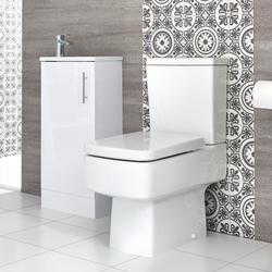Eckiges Stand-WC und Slimline Standwaschtisch Set, Unterschrank B 400mm Farbe wählbar