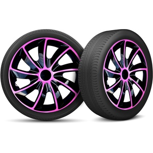 moto-MOLTICO Auto Radkappen Radzierblenden 4er Set passend für alle Stahlfelgen - Einstellbarer Sicherungsring - 17 Zoll - Schwarz Rosa Pink