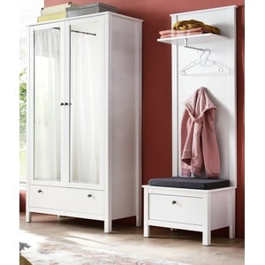 Flur Garderobe Set Garderoben-Set weiß 3-teilig 160 cm mit Schrank und Bank Ole