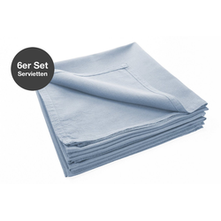 jilda-tex Stoffserviette Serviette 6er Set - Renforce - 100% Bio-Baumwolle, 42x42 cm Bio Baumwolle unifarben Renforce 6er Set blau