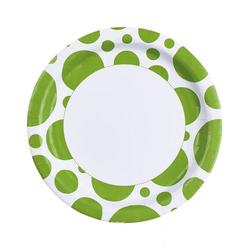 Horror-Shop Einweggeschirr-Set Kiwi Grüne Punkt Pappteller als Partygeschirr 8 St, Pappe weiß