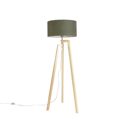 Stehleuchte Stativ Holz mit Schirm 50 cm grün - Puros