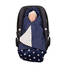 Einschlagdecke Einschlagdecke Babyschale Blaue Sterne (0 bis 9 Monate) TOG-Wert 2,5, ULLENBOOM ®, Ideal für den Autositz (3- und 5-Punkt-Gurtsystem) Made in EU