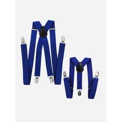axy Hosenträger (Vater-Sohn Hosenträger Set) Partnerlook für Herren und Kinder 1-6 Jahre alt, Fotoshooting Familien Outfit blau