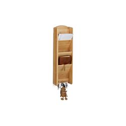 relaxdays Schlüsselbrett Schlüsselbrett mit Ablage Bambus