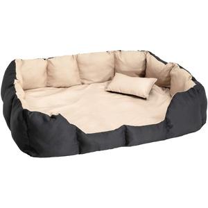TecTake 800047 XXL Hundebett Hundekissen inkl. Decke und Kissen, dick gepolsterte Seitenwände - Diverse Farben - (Schwarz/Beige | Nr. 400742)