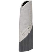 Dekohelden24 Edle Moderne Deko Designer Keramik Vase in Silber-grau hoch, Silbergrau, 34 cm