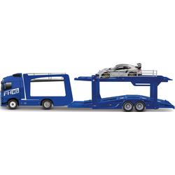 Bburago Spielzeug-Transporter StreetFire Volvo FH16 Autotransporter, inklusive Spielzeugauto blau Kinder Spielzeug-LKW Spielzeugautos Autos, Eisenbahn Modellbau