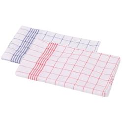 Floorstar Geschirr-Handtücher Halbleinen, Maße: 50 x 70 cm, ideal für Geschirr- und Gläser, 1 Stück, blau-weiß kariert