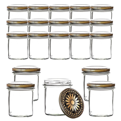 BigDean Einmachglas 350 ml für Pasteurisierung − Made in Germany − Marmeladengläser mit Schraub−Deckel Ornament−Muster − Honiggläser − Als Gastgeschenk, (20-tlg)