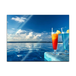 Bilderdepot24 Glasbild, Glasbild - Cocktail am Swimmingpool 80 cm x 60 cm