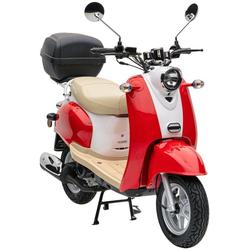 Nova Motors Motorroller Retro Star Touring, 49 ccm, 45 km/h, inkl. Topcase rot