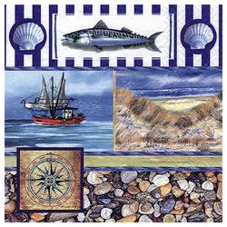 Linoows Papierserviette 20 Servietten Maritime Szenerie mit Fischerboot &, Motiv Maritime Szenerie mit Fischerboot & Muscheln