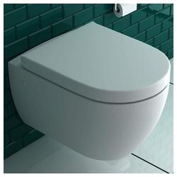 bad1a Wand-WC-Befestigung Wandhängendes WC mit Hygienedusche + Abnehmbarer WC-Sitz D-Form inkl. Absenkautomatik, 2 in 1 BIDET & WC, Taharet WC ästetische & platzsparende Ausführung, passend zu GEBERIT, (Komplett-Set, 1xWC mit Bidet Funktion, 1xWC-Sitz), WC mit Bidet Funktion