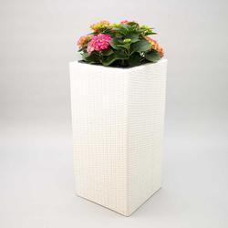 Blumenkübel, Übertopf Polyrattan Säule 30x30x80cm weiß.