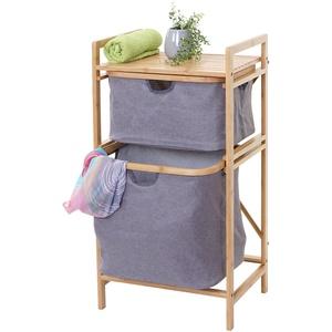 Wschesammler HWC-B56, Regal Wschesortierer Wschekorb Badregal Aufbewahrung, Bambus 84x44x34cm 72l