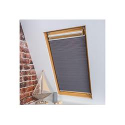 Dachfensterplissee Universal Dachfenster-Plissee, Liedeco, verdunkelnd, ohne Bohren, verspannt, Fixmaß grau 83 cm x 141 cm
