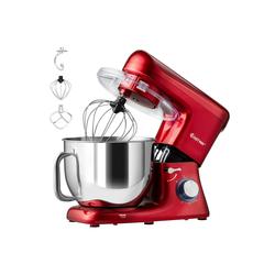 COSTWAY Küchenmaschine 1400W Küchenmaschine mit Griff, mit Griff, 7L Rührmaschine, 6 stufen Teigmaschine inkl. Schneebesen, Knethaken, Rührbesen und Spritzschutz rot