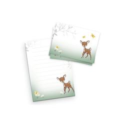 Kreative Feder Briefpapier, Briefpapier-Set für Kinder, Reh, DIN A5 Briefpapier-Block 50 Blatt mit 20 Umschlägen, Briefpapier mit Linien, Brief, Post, Schreiben