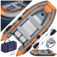 KESSER Schlauchboot bis 4 Personen 2 Sitzbänken, Aluboden, Luftpumpe, Reparaturset und Paddel - Aufblasbares Ruderboot in Grau - PVC, Familiengröße