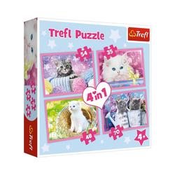 Trefl Puzzle Puzzle 4 in 1 - Katzenspaß, Puzzleteile