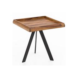FINEBUY Beistelltisch FB51450, Beistelltisch 45 x45 cm quadratisch Sheesham Massivholz mit Metall Gestell Couchtisch Wohnzimmertisch Holztisch Wohnzimmer