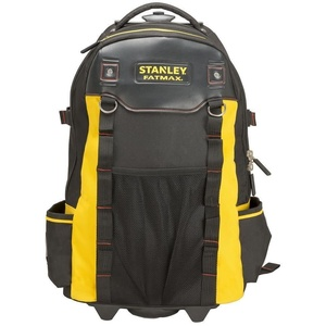 Stanley FatMax 1-79-215 Werkzeugrucksack, wasserdichter Kunststoffboden, atmungsaktive Polsterung, stabiler Teleskopgriff, robustes 600 Denier Nylon, 36 x 23 x 54 cm, Schwarz