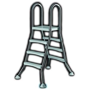 Ideal Eichenwald Poolleiter Hochbeckenleiter Schwimmbadleiter Edelstahlleiter Leiter 1,0/1,0m