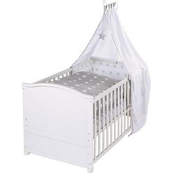 Kinderbett komplett Little Stars, weiß, 70 x 40 cm Gr. 70 x 140
